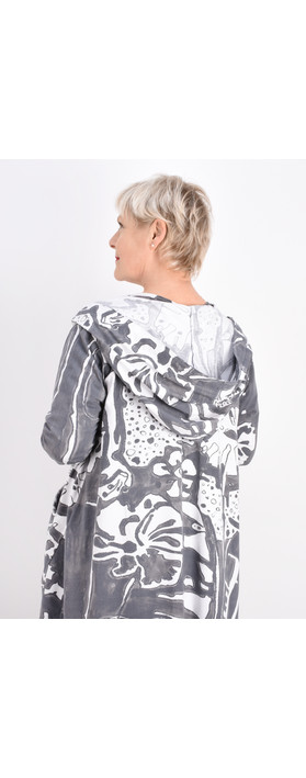 Grizas Agnese Printed Jersey Coatigan White/grey