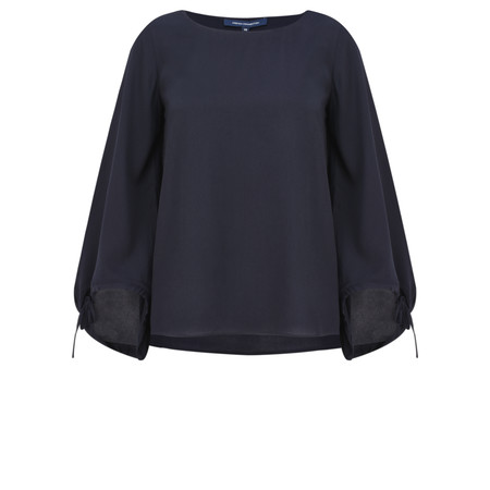 French Connection Crepe Fluted Sleeve Blouse - Blue