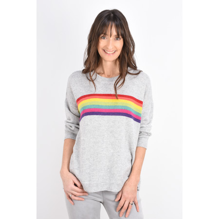 Luella Davina Cashmere Blend Rainbow Stripe Jumper - Grey