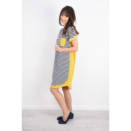Foil Stripe Two Tone Colour Dress - Blue