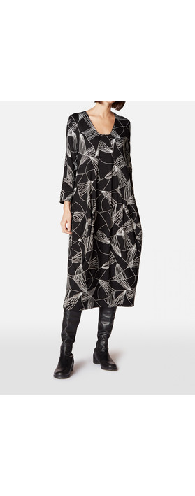 Sahara Abstract Line Jersey Dress Black/White