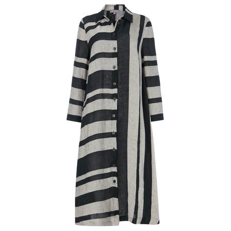 Sahara Linen Stripe Shirt Dress - Black