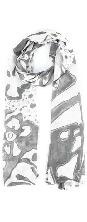 Grizas Leva Printed Linen Scarf White/grey