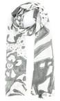 Grizas White/grey Leva Printed Linen Scarf