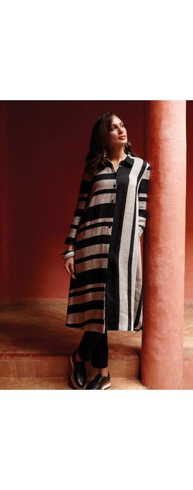 Sahara Linen Stripe Shirt Dress Black/Stone