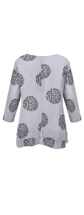 Grizas Layla Printed Crinkle Layered Top Grey
