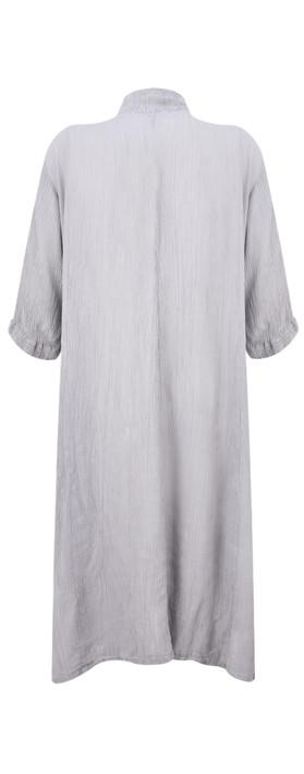Grizas Egle Plain Crinkle Shirt Dress Grey