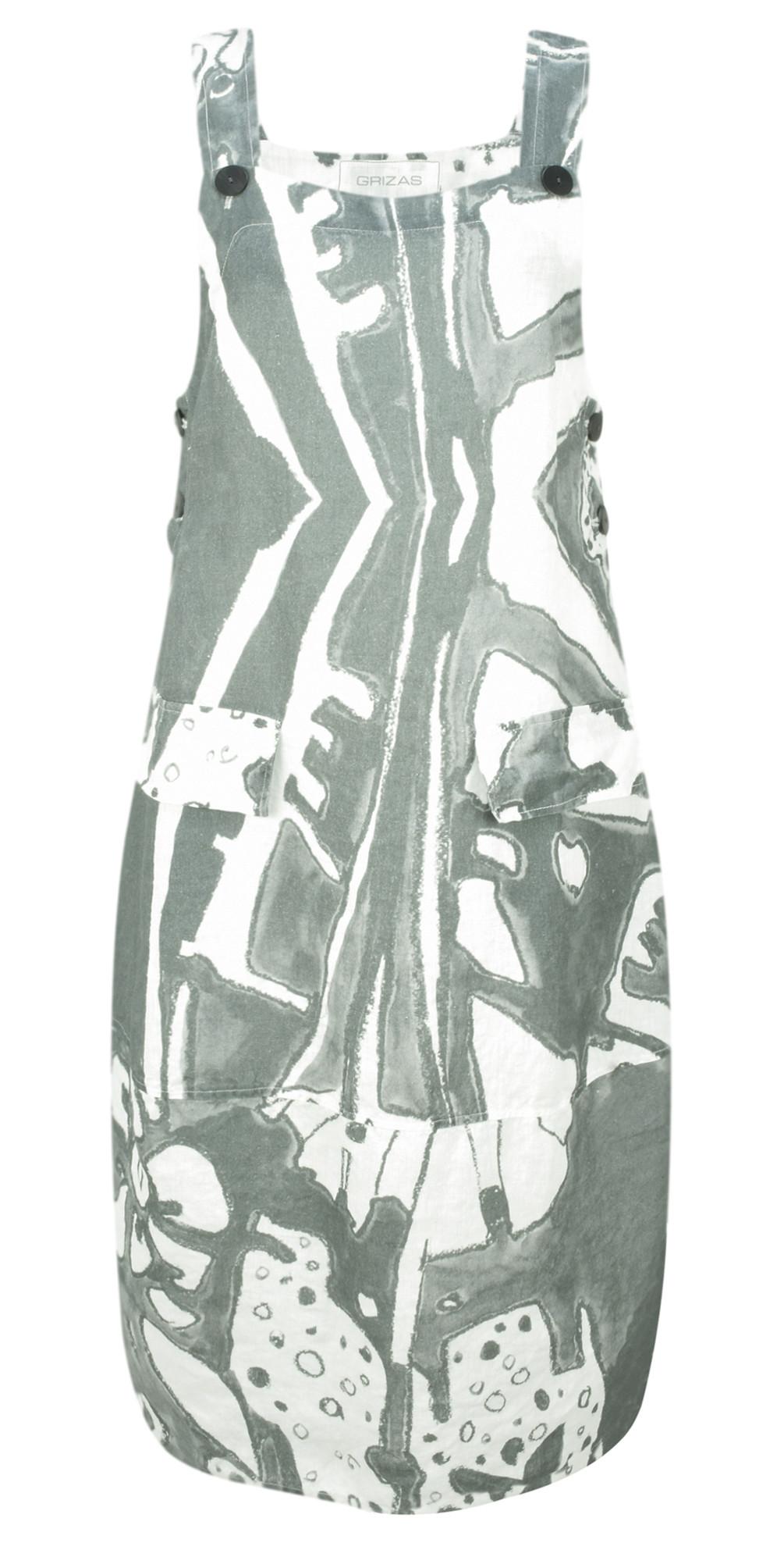Greta Printed Linen Dungaree Dress main image