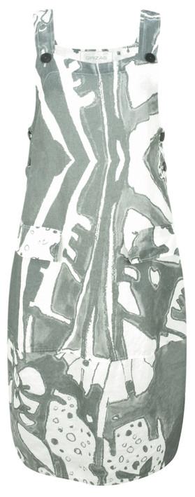Grizas Greta Printed Linen Dungaree Dress White/grey