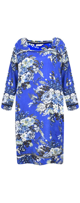 Masai Clothing Floral Nasira Dress Greek Blue Org