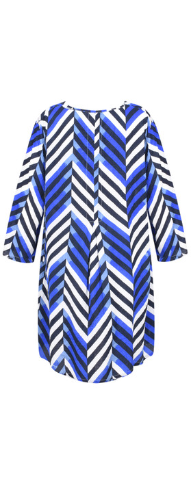 Masai Clothing Chevron Print Gelsa Tunic Greek Blue Org
