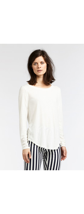 Sandwich Clothing Linen Mix Long Sleeve Top Spring White