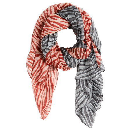 Sandwich Clothing Woven Zebra Print Contrast Scarf - Red