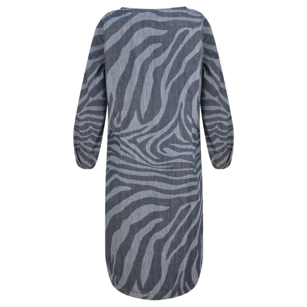 Sandwich Outlet Denim Wash Zebra Dress Blue Denim