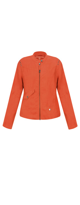Sandwich Clothing Linen Biker Jacket Burned Red