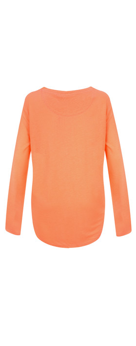 Sandwich Clothing Linen Mix Long Sleeve Top Neon Coral