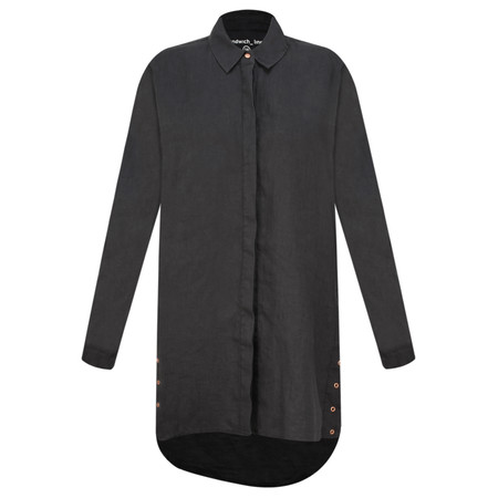 Sandwich Outlet  Button Detail Linen Blouse - Black