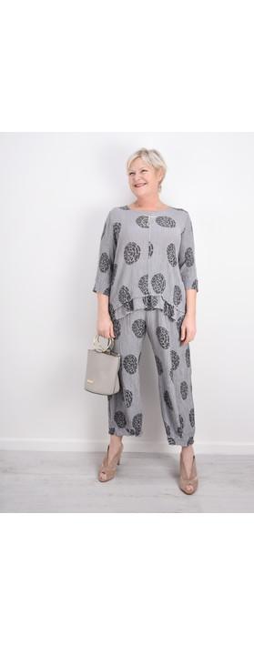 Grizas Vilma Printed Crinkle Cuffed Trouser Grey
