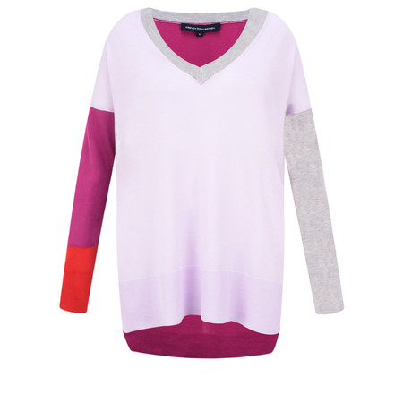 French Connection Block Colour V-neck Jumper - Multicoloured