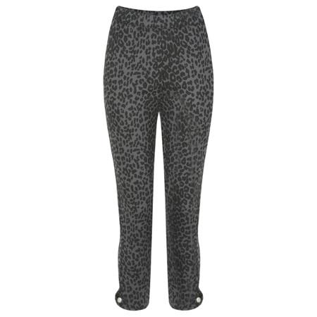 Masai Clothing Paca Leopard Print Capri Trouser - Grey