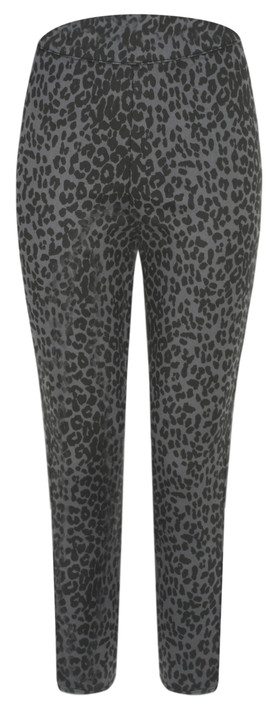 Masai Clothing Paca Leopard Print Capri Trouser Stone