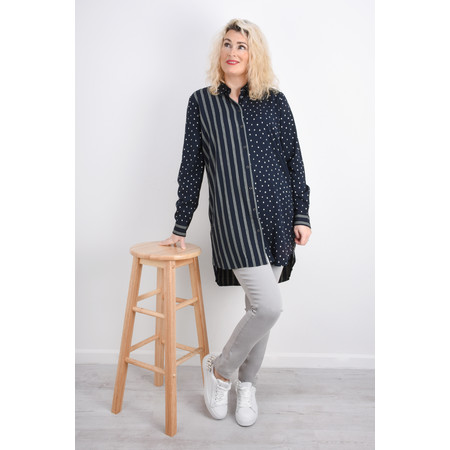 Sandwich Clothing Spots & Stripes Tunic Shirt - Blue