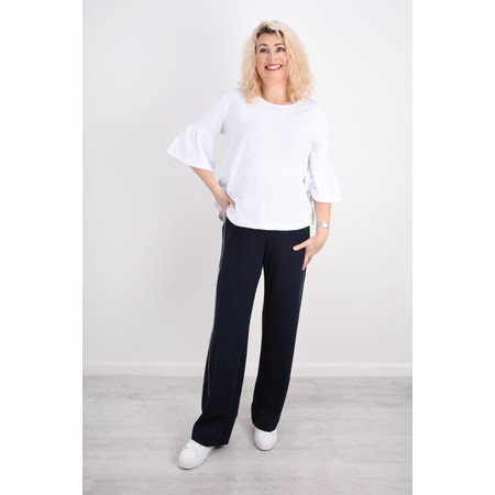 Foil  Frill Sleeve Top - White
