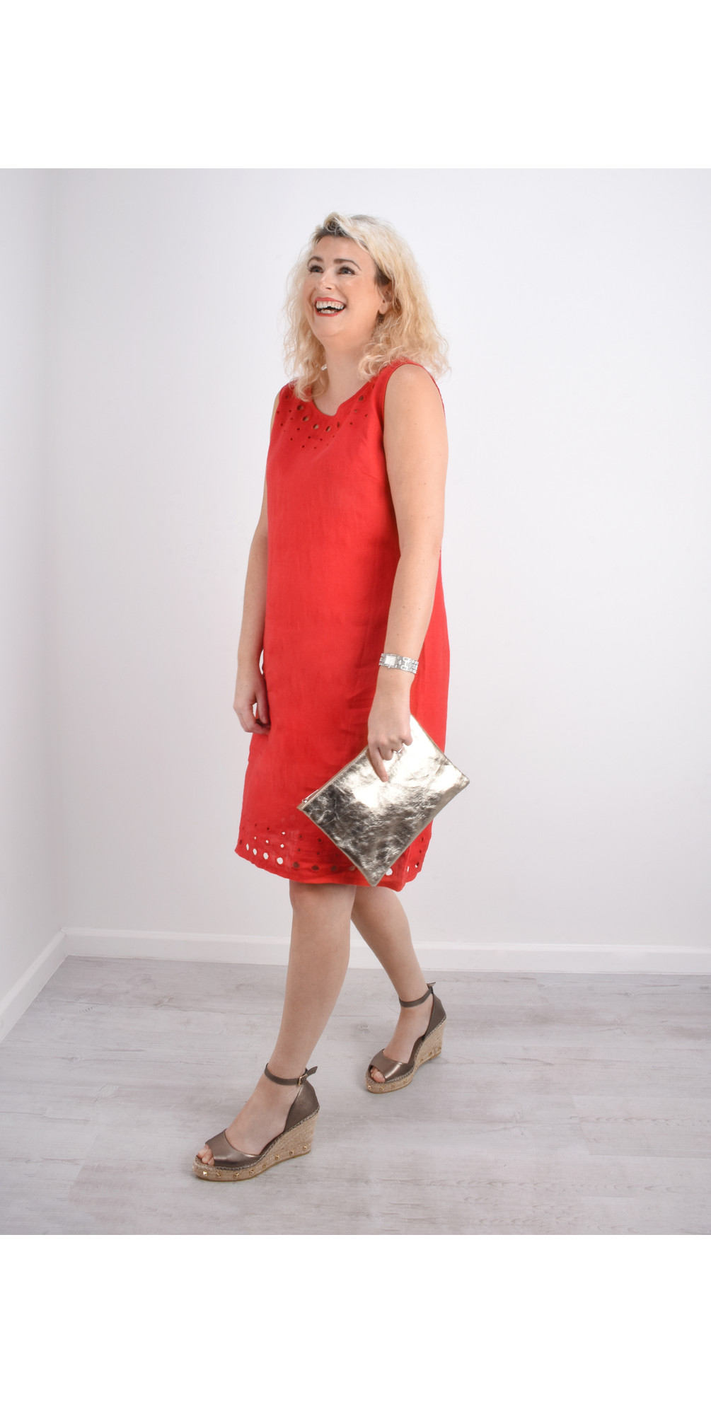 Circle Embroidered Linen Dress main image