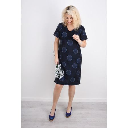 Foil Bold Circle Print Linen Dress - Blue