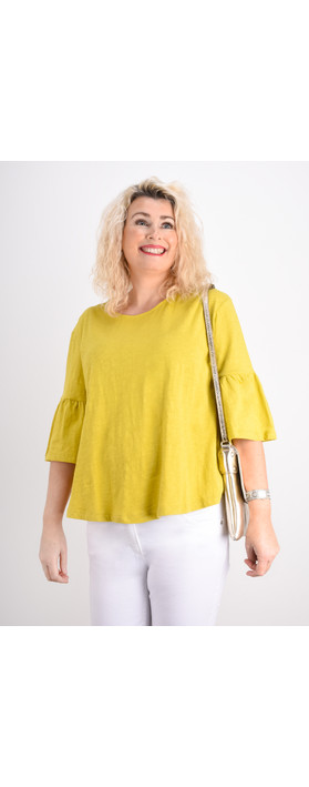 Foil  Frill Sleeve Top Lime