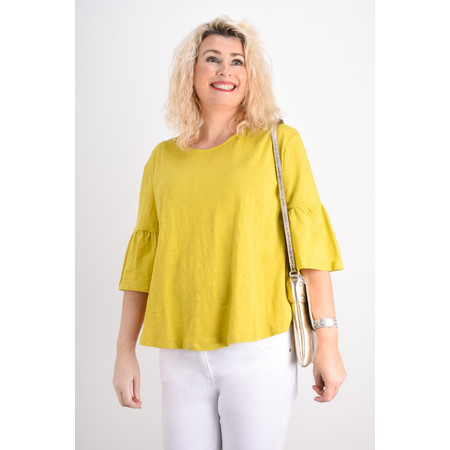 Foil  Frill Sleeve Top - Green