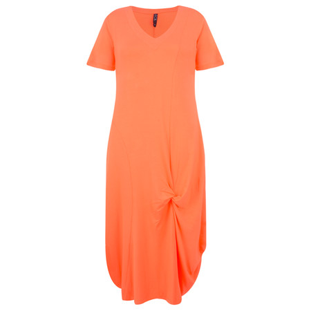 Foil Soft Focus Twist Front Dress - Orange
