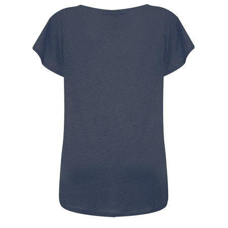 Foil Silk & Linen Flutter Top - Blue