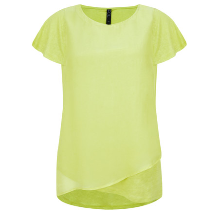 Foil Silk & Linen Flutter Top - Green