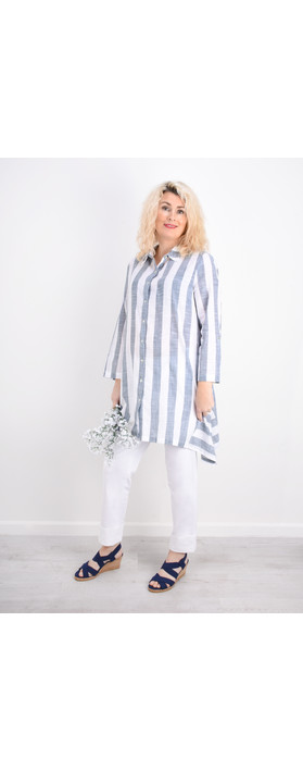 Adini Quay Stripe Quay Big Shirt Soft Denim