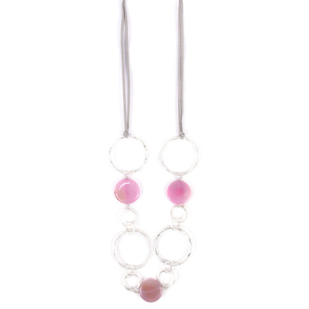 Eliza Gracious Beti Ring Stone Bead Necklace - Pink