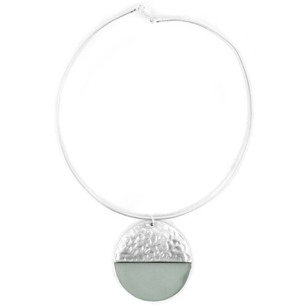 Eliza Gracious Catrin Resin Circle Pendant Necklace - Blue