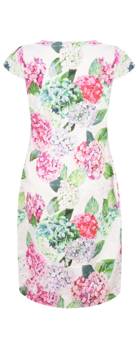 Foil Printed Pretty Versatile Cap Sleeve Dress Hydrangea