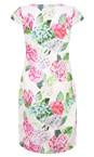 Foil Hydrangea Printed Pretty Versatile Cap Sleeve Dress