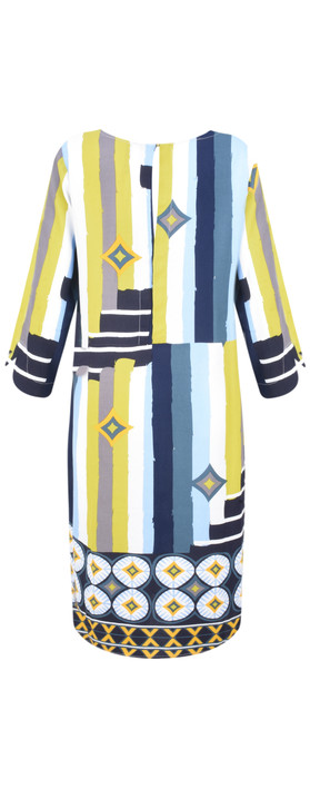 Foil Still Swinging Shift Dress Brushstroke Blue