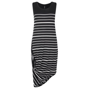 Foil Asymmetric Stripe Sleeveless Dress