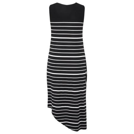 Foil Asymmetric Stripe Sleeveless Dress - Beige