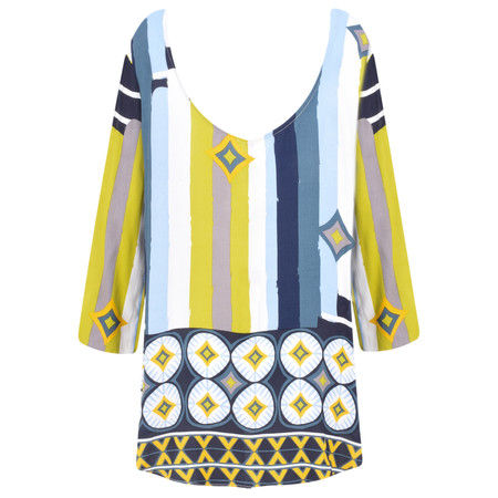 Foil Stripe and Geometric Print Tie Sleeve Top - Blue
