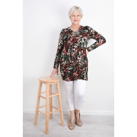 Sahara Leaf Print Jersey Tunic - Multicoloured