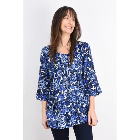 Masai Clothing Floral Print Kiwi Top - Blue