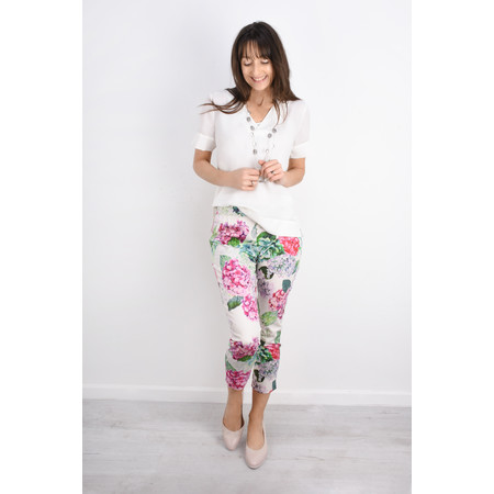 Foil Printed Capri Trousers - Blue