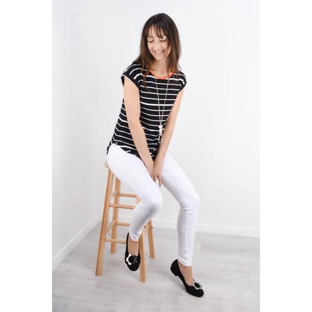 Foil Soft Focus Striped T-Shirt - Beige