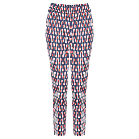 Foil Printed Capri Cropped Trousers - Multicoloured