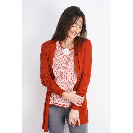 Sandwich Clothing Long Open Thin Knit Cardigan - Red