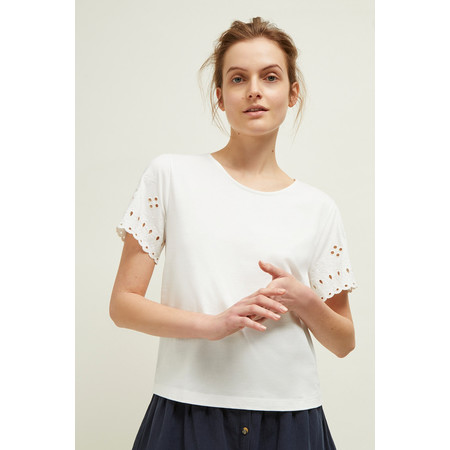 Great Plains Bali Embroidery Jersey Top - Off-White
